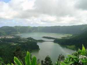 Sete Cidades volcano with large water filled craters