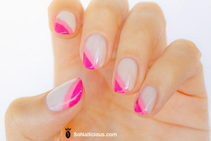 diagonal pink french manicure