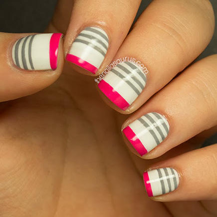 grey striped french manicure