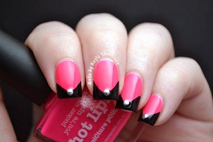 pointed black french manicure with jewel
