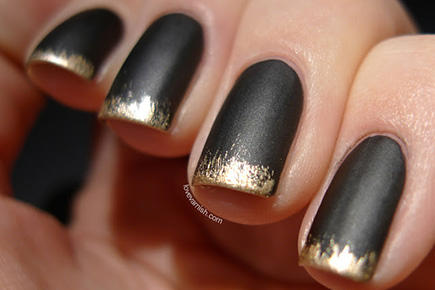 grunge black and gold french manicure