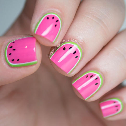 watermelon painted nails