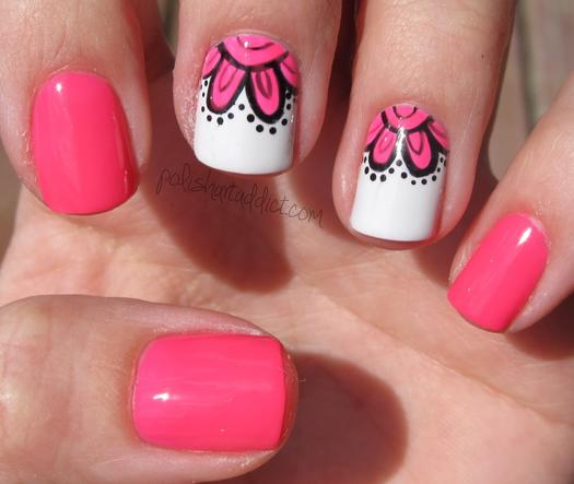 pink nails with pink flowers