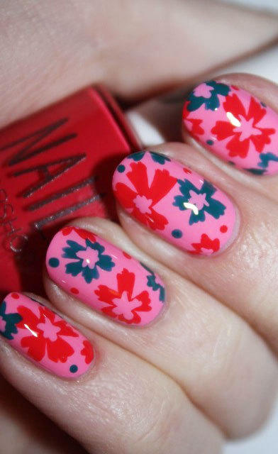 pink nails with colorful flowers
