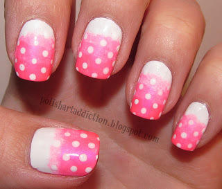 white to pink gradient nails with polka dots
