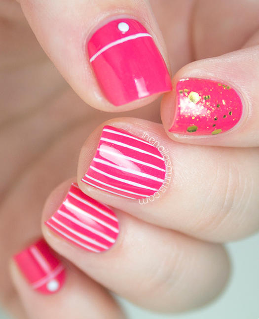 hot pink nail polish with white stripes