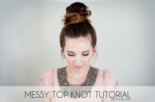 girl with messy top knot