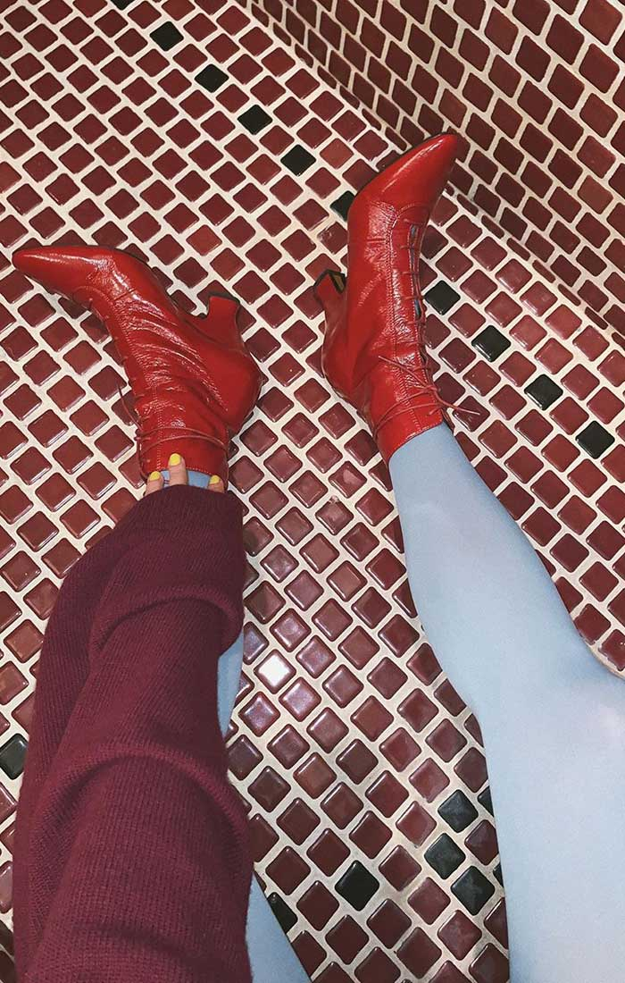 ankle boots colored tights contrasting colors Courtney Trop Always Judging