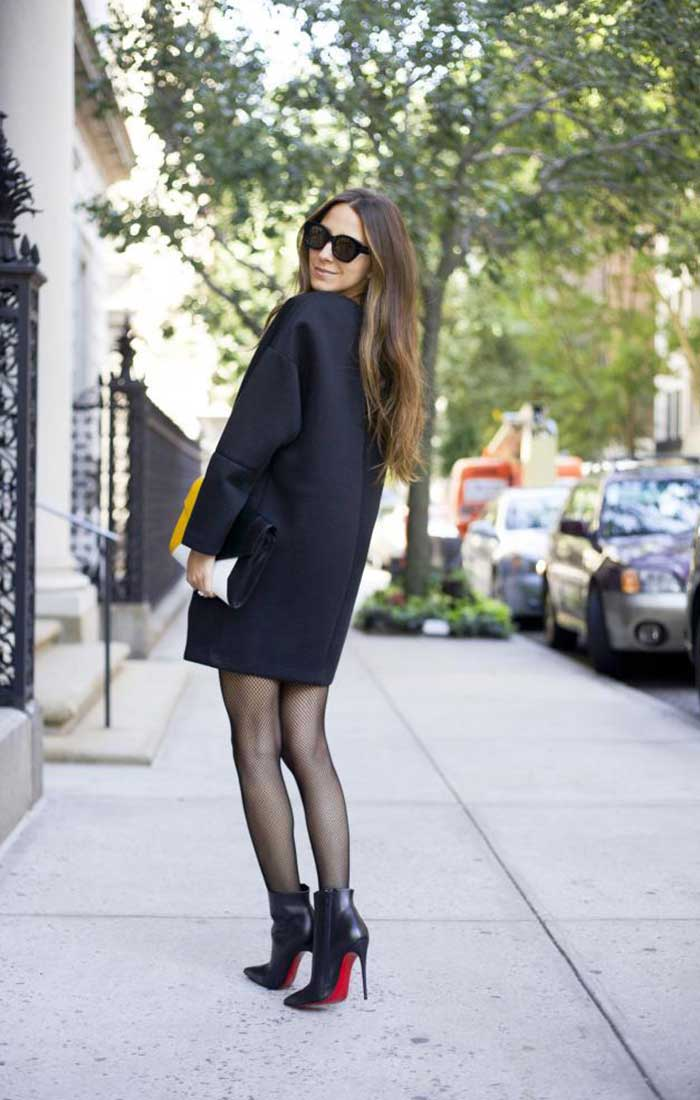 textured tights ankle boots Arielle Charnas Something Navy