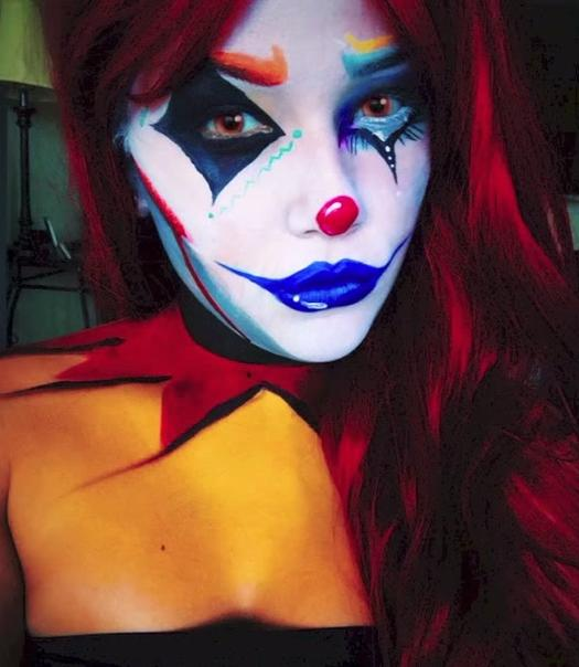 woman wearing aggressive clown makeup