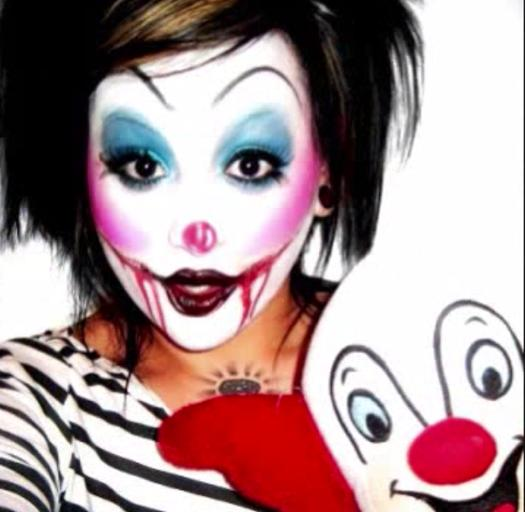 girl wearing killer clown makeup