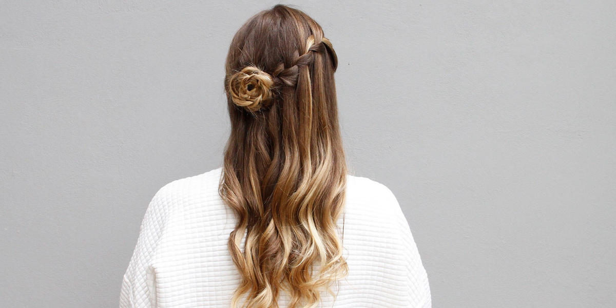 How to Recreate This Whimsical Waterfall & Flower Braid Updo