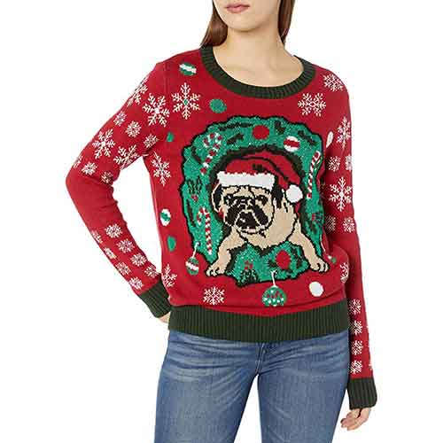 Cayenne Pug in Wreath Ugly Christmas Sweater