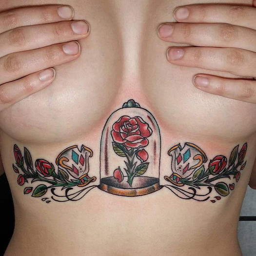 beauty and the beast sternum tattoo