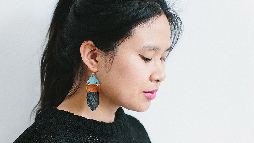 Make These DIY Stacked Leather Earrings And Embrace Your Love For Geometric Shapes
