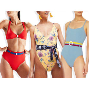 Women modeling belted swimsuits