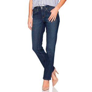 Woman wearing a medium wash pair of Levi's straight jeans
