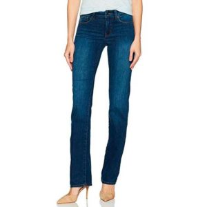 Woman wearing a pair of Not Your Daughter's Jeans in straight leg style