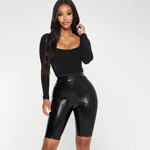 PrettyLittleThing Leather Bike Shorts