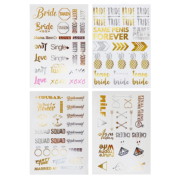 Bachelorette Party Temporary Flash Tattoos