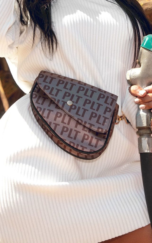 PrettyLittleThing Brown Logo Asymetric Fanny Pack