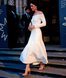 Kate Middleton wearing a white off-the-shoulder dress and nude heels