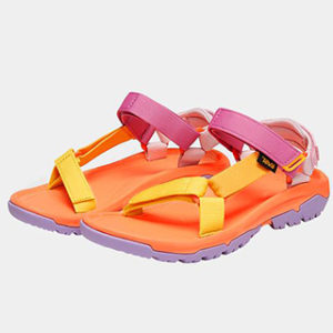 Pink, orange, and lavender Teva x Outdoor Voices sandals