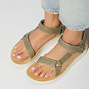 Green strapped Teva sandals
