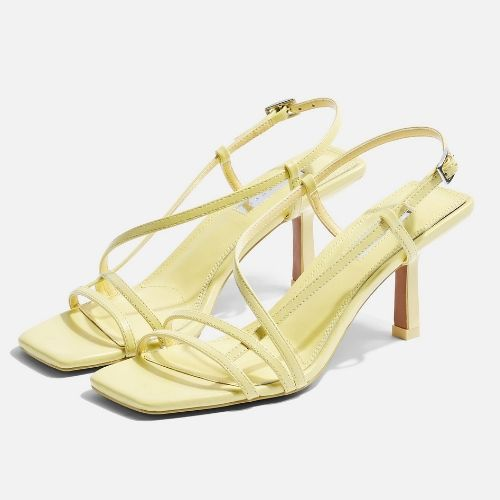 Topshop Strippy Sandals in Lime