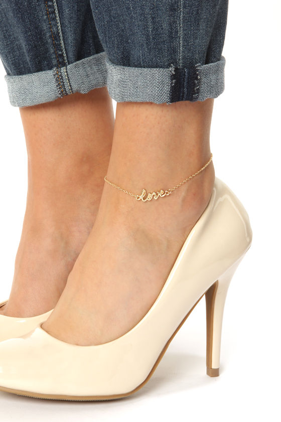Lulus Lucky In Love Gold Anklet
