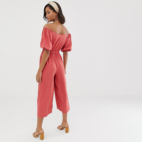 ASOS DESIGN tea jumpsuit with puff sleeve and tie detail