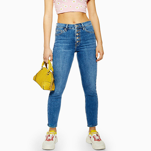 Topshop Petite Mid Blue Button Fly Jamie Jeans