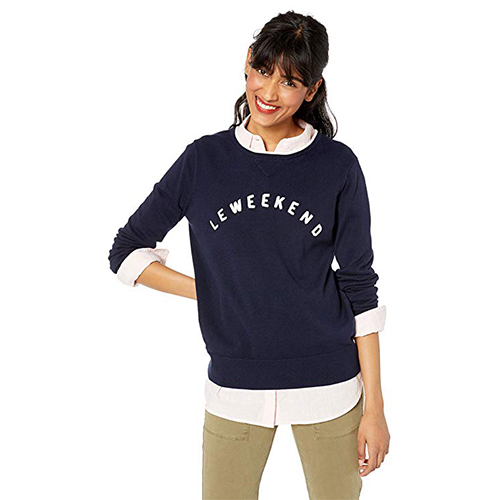 Women's Long-Sleeve Cotton Le Weekend Graphic Sweater