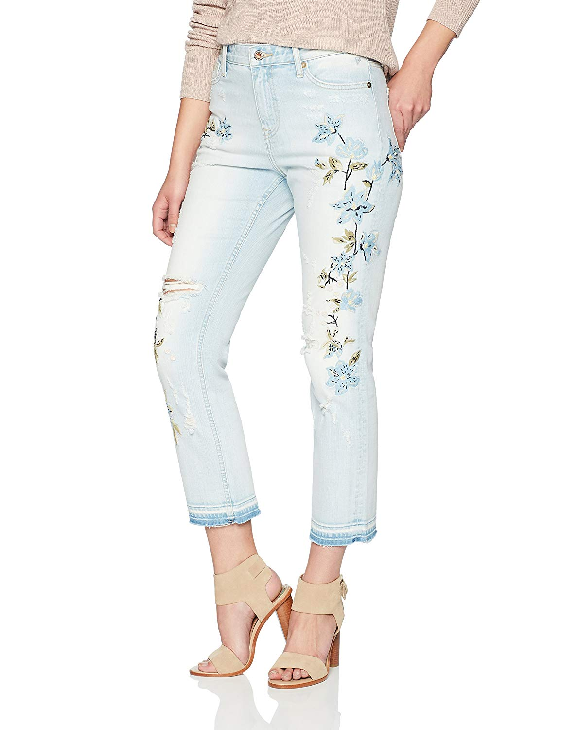 Denim Bloom Women's High Rise Cropped Jeans with Straight Leg and Embroidery
