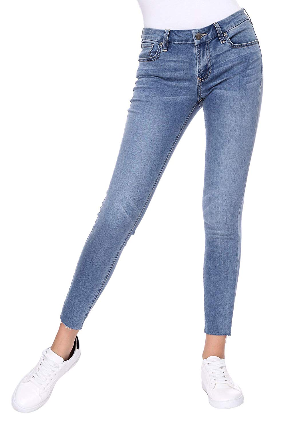 Soul Gene Womens Mid-Rise Stretch Comfy Classic Ankle Denim Skinny Jeans