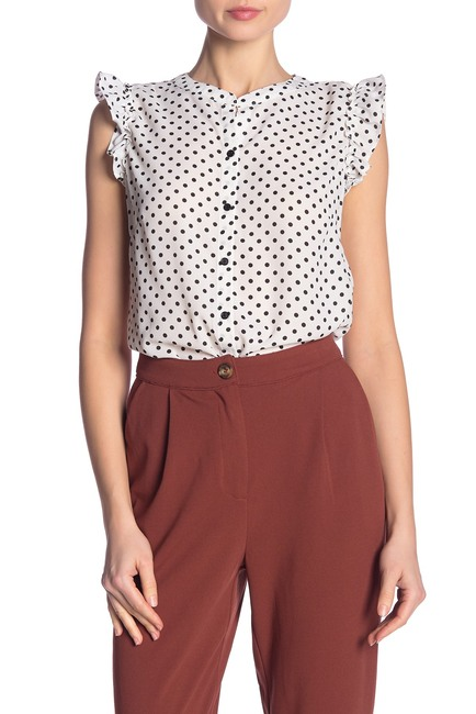 ECI Polka Dot Ruffled Sleeveless Top