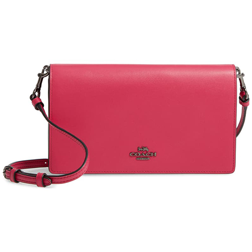 Coach Calfskin Leather Foldover Convertible Clutch