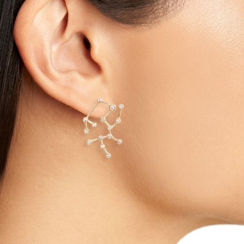 Sterling Forever Zodiac Mismatched Stud Earring & Ear Crawler Set