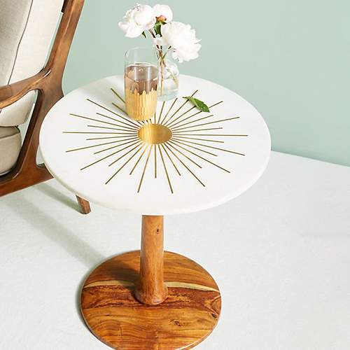 Anthropologie Brass Starburst Side Table