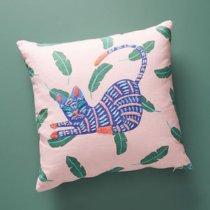 Embroidered cat pillow from Anthropologie