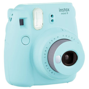 Light blue fujifilm instax camera