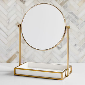 Gold and white west elm vanity mirror