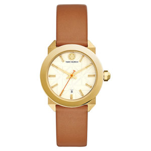 Tan leather strapped Tory Burch gold faced watch