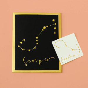 Scorpio greeting card and gold foil temporary constellation tattoo