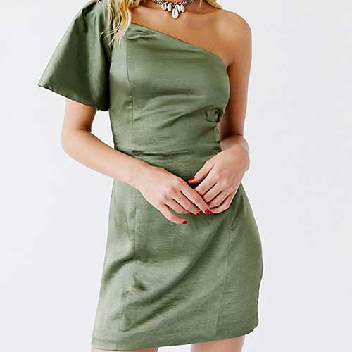 Fame and Partners Cara One-Shoulder Micro Mini Dress