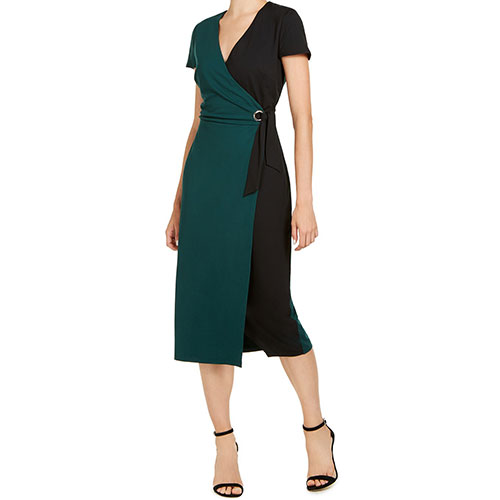 INC Colorblocked Faux-Wrap Dress