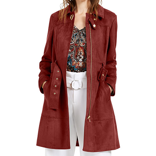 INC Faux-Suede Trench Coat