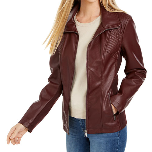 Style & Co Faux-Leather Moto Jacket