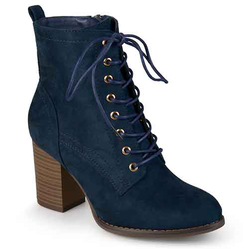 Brinley Co. Lace-up Stacked Heel Booties
