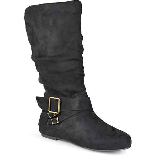 Brinley Co. Wide-Calf Buckle Slouch Boots